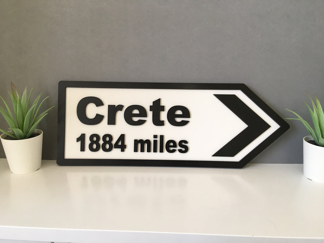 Road sign style- destination and miles - Fred And Bo
