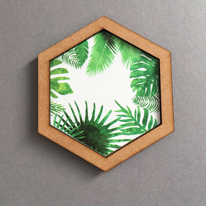Hexagon wall art tile- leaves mix - Fred And Bo