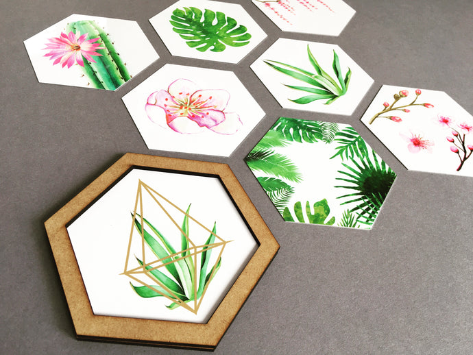 Hexagon wall art tile- set of 4 - Fred And Bo