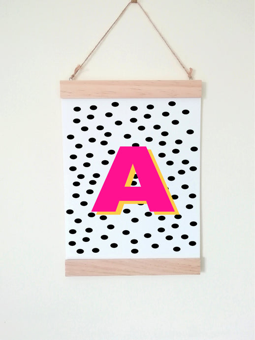 Wall Poster A4 Wooden Hanging Frame - Initial Polka Dot Pink