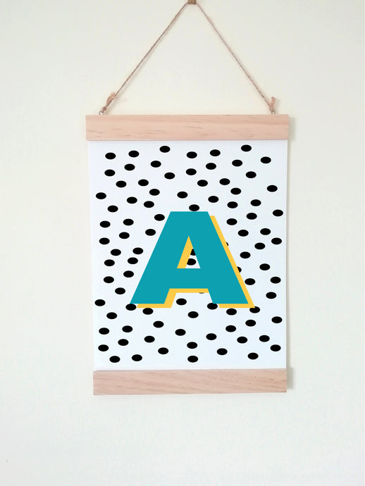 Wall Poster A4 Wooden Hanging Frame - Initial Polka Dot Blue