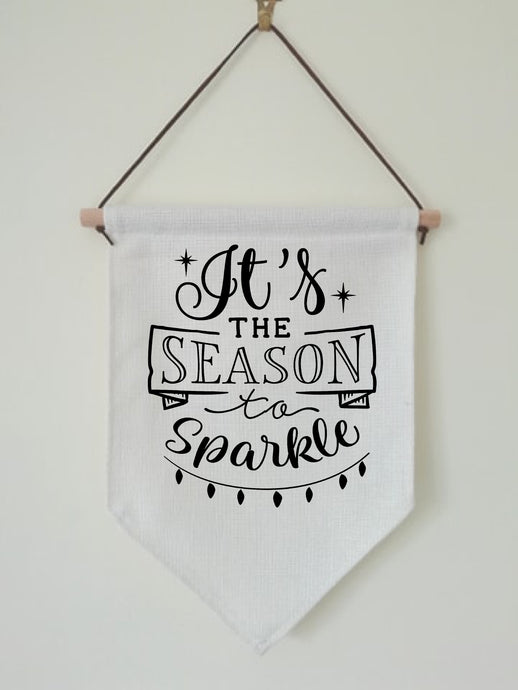 Christmas Hanging Banner Flag- It's The Season To Sparkle