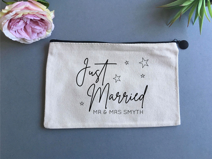 Personalised Linen pouch- Wedding Just Married - Fred And Bo