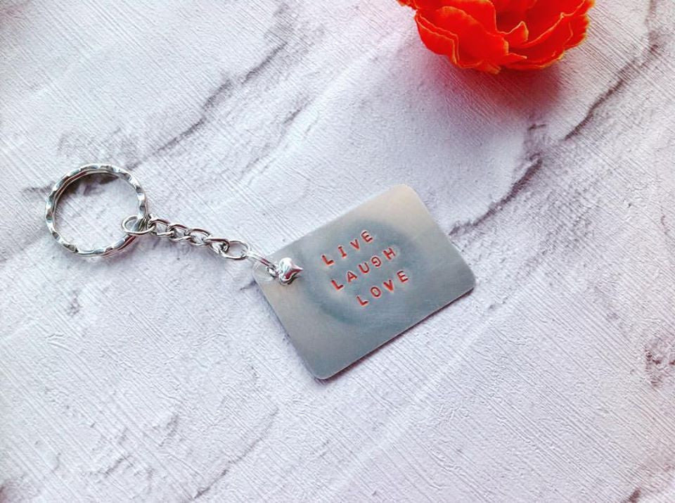 Live Laugh Love metal hand stamped key ring key chain - Fred And Bo