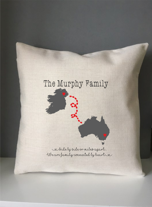 Family across the miles Map- cushion pillow - personalised - Fred And Bo