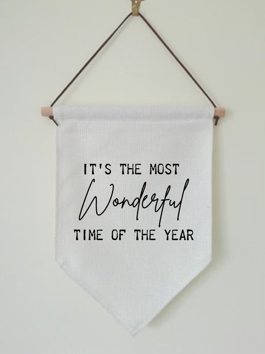 Christmas Hanging Banner Flag- It's The Most Wonderful Time Of Year