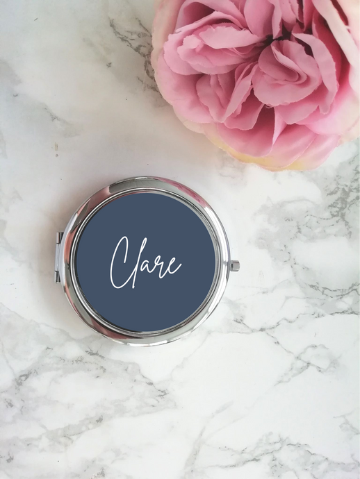 Personalised Compact Mirror- Navy