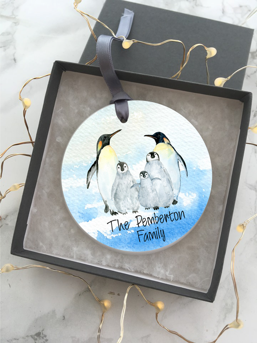 Penguin Family Personalised Ceramic Bauble Hanging Decoration - Fred And Bo