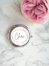 Personalised Compact Mirror- Pink Watercolour Frame