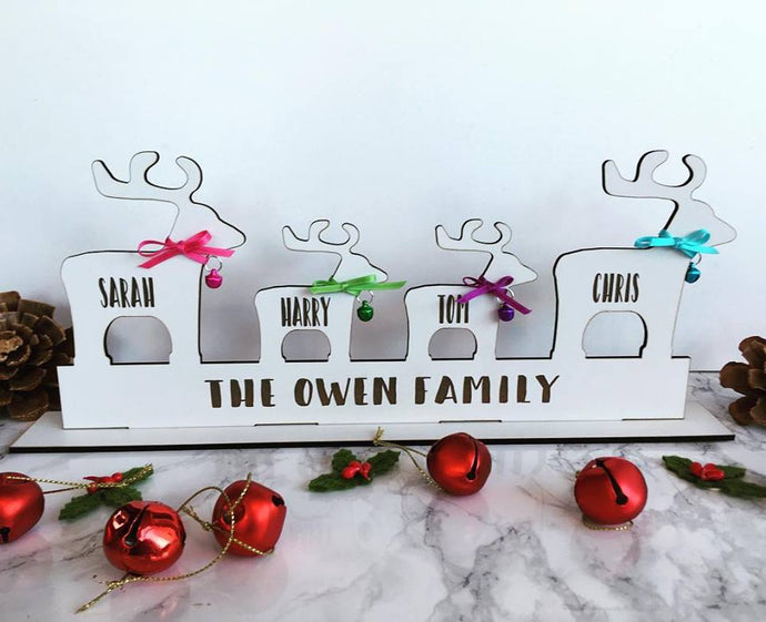 Reindeer Family Personalised Christmas Decoration - Fred And Bo