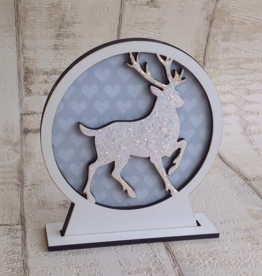 Snow globe- laser cut- Christmas reindeer stag - Fred And Bo