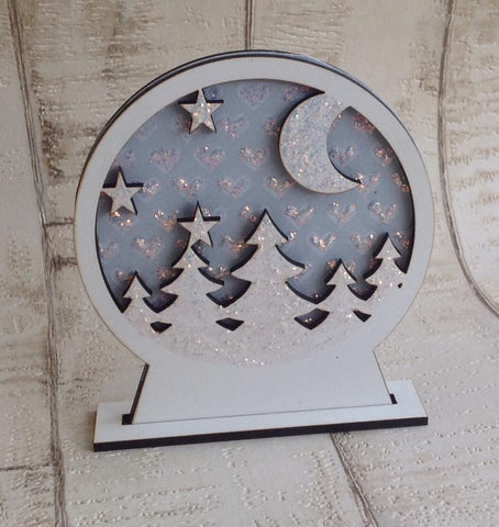 Snow globe- laser cut- Christmas tree winter scene - Fred And Bo