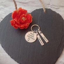 This daddy belongs to... childs name Father's Day metal hand stamped key ring key chain - Fred And Bo