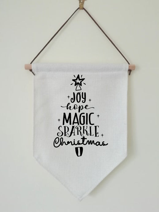Christmas Hanging Banner Flag- Festive Word Tree