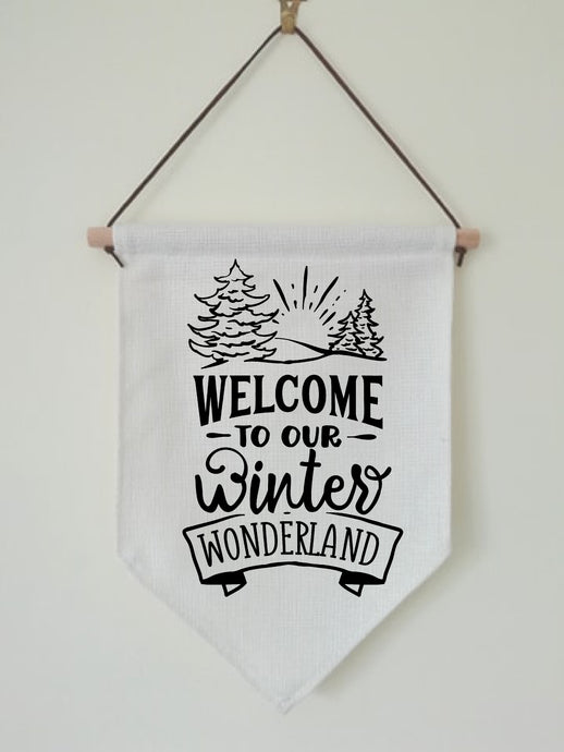 Christmas Hanging Banner Flag- Welcome To Our Winter Wonderland