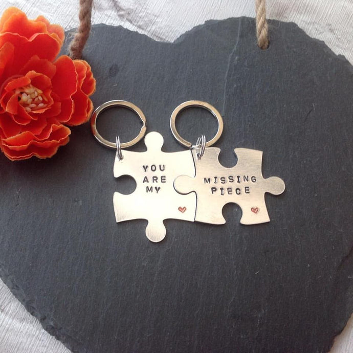 You are my missing piece jigsaw keyring set metal hand stamped key ring key chain - Fred And Bo