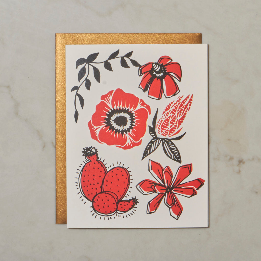 Cacti & Poppy - Red