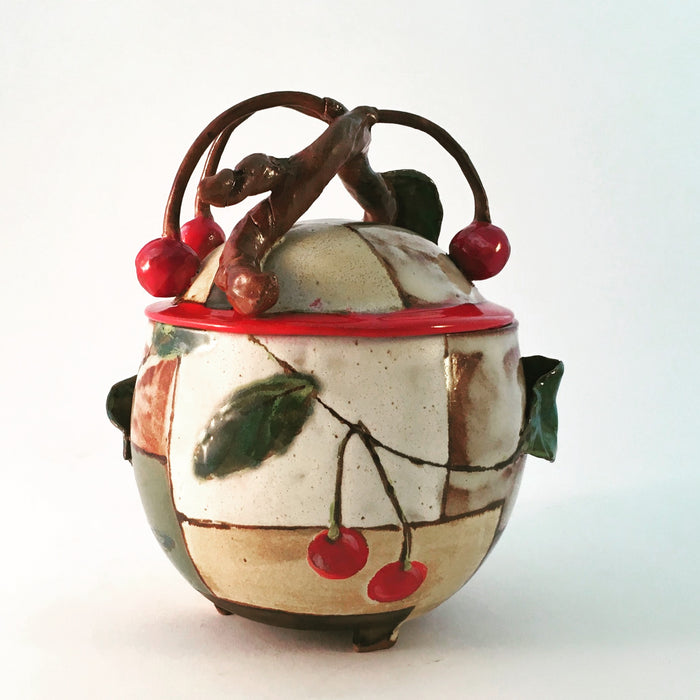 Cherry Lidded Jar with Red Rim