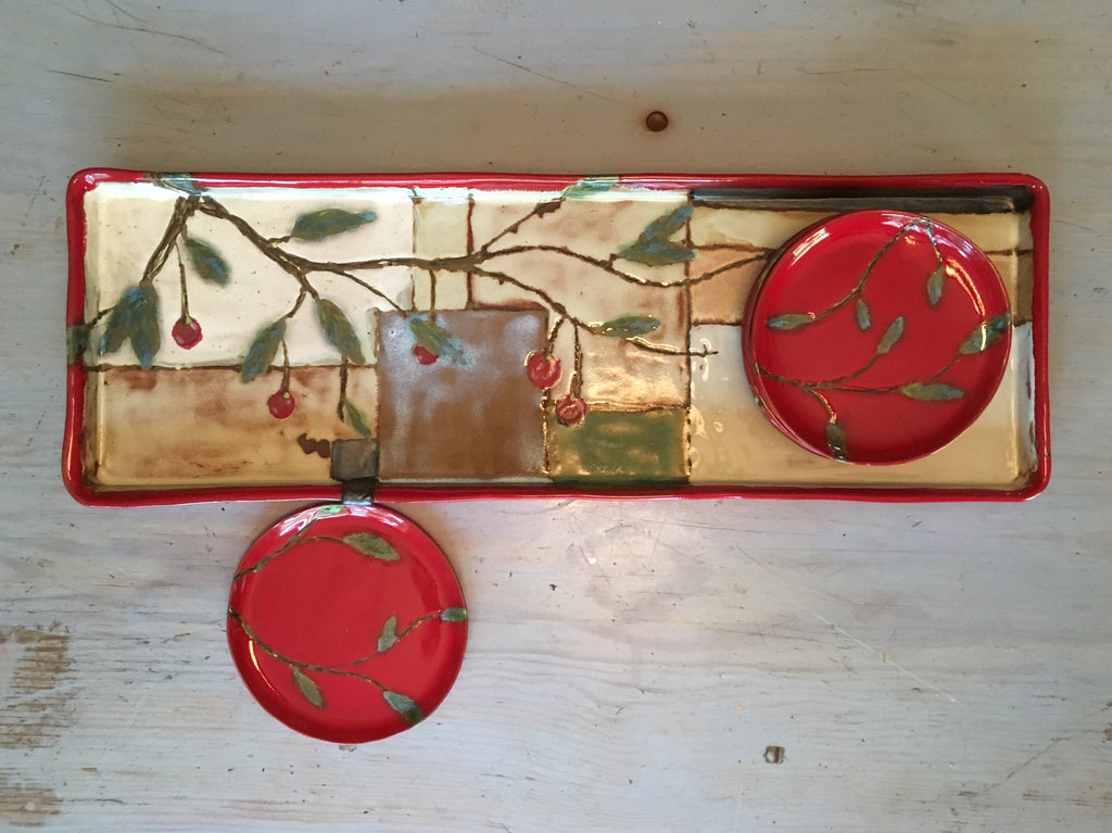 Cherry long tray + baking platter