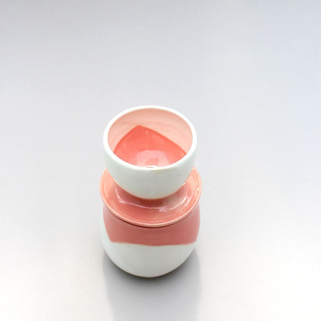 Coral + White French Butter Cloche