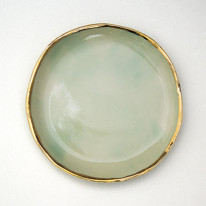 Citi Rustique Plates — Mint Green + 24k Gold Rim