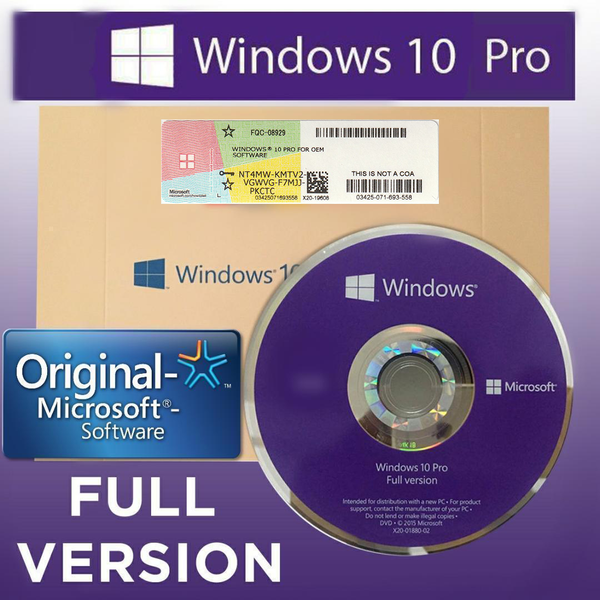 Microsoft Windows 10 Pro 64 Bit OEM - Installer DVD & Product Key