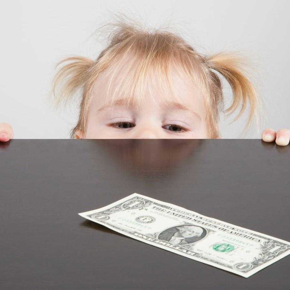 toddler and dollar bill