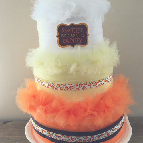 Candy Corn Diaper Cake
