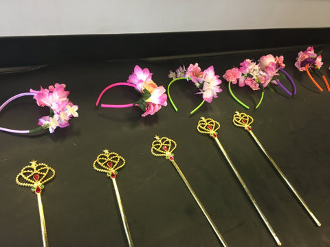 Girls Fairy Birthday Party Headbands and wands
