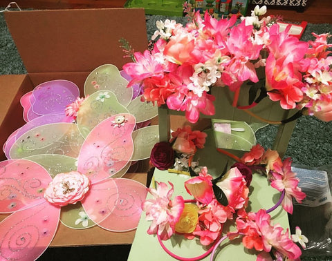 Girls Fairy Birthday Party Wings and headbands