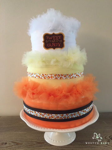 Finished Product: Candy corn diaper cake