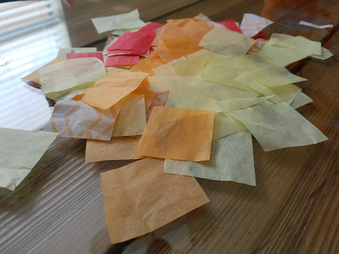 Rainy day sun catchers Step 2: cut up tissue paper