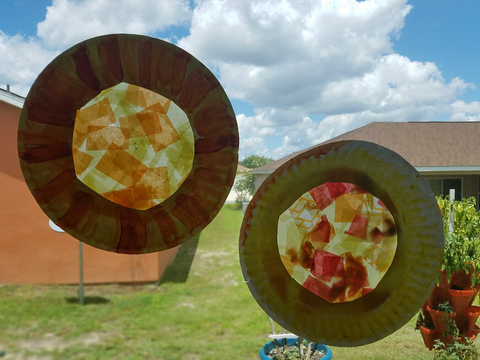 Finished sun catchers on window