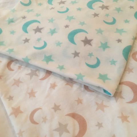 Moon and Stars Print on Fabric