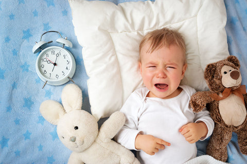 Baby crying next to clock