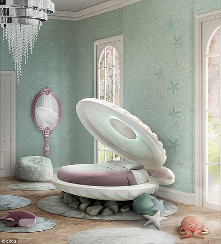 Unique kids' beds mermaid clam bed for girls