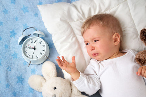 Upset and confused toddler with clock