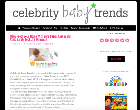 Enter to win the Celebrity Baby Trends EASYGUARD giveaway