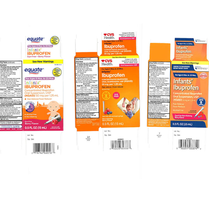 Tris Pharma Issues Nationwide Recall of Infant Ibuprofen From Family Dollar, CVS, and Walmart