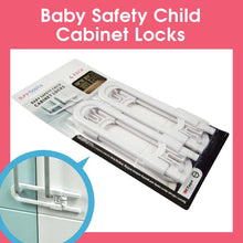 Load image into Gallery viewer, Sure Basics Child Proof Locks for Cabinet Doors, Adjustable U-Shaped, Door Latch, 4 Pack, White