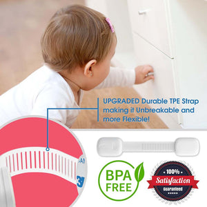 Child Safety Locks to Baby Proof Drawers, Cabinets – 6 Pack, White