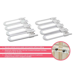 Unbreakable Sliding Locks for Cabinets – 4 Pack, White