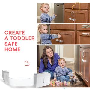 Child Safety Cabinet Locks for Baby Proofing Drawers, Fridge, Refrigerators & More, White, 6 Pack