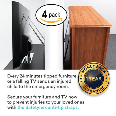 Metal Furniture Anchors for Baby Proofing - TV Straps Safety - Anti Tip Dresser Anchoring Kit, 4 Straps, Bolts & Hardware Included