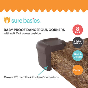Counter Corner Guards - 8 Pack Corner Protectors Baby Proofing Kit of Brown Furniture Edge Bumpers with pre-Applied 3M Tape