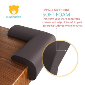 Child Safety Foam Corner Protecting Guards for Baby Proofing Furniture, Extra Large Size, Pre-Applied 3M Tape, 8 Pack, Brown