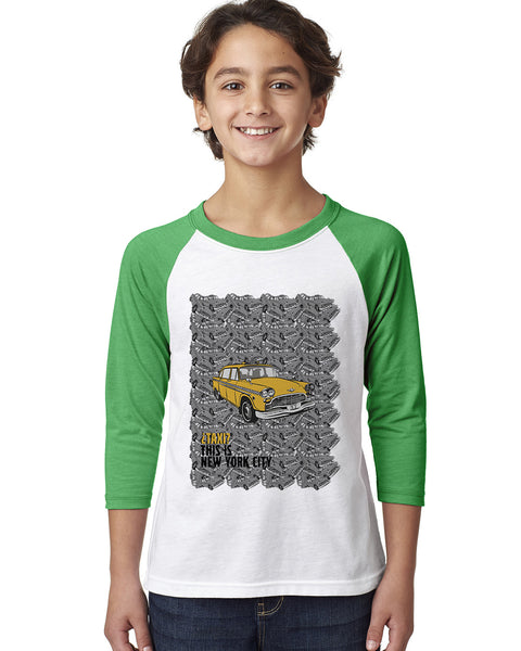 Super Taxi Wey in NY YOUTHS' 3/4 SLEEVED RAGLAN
