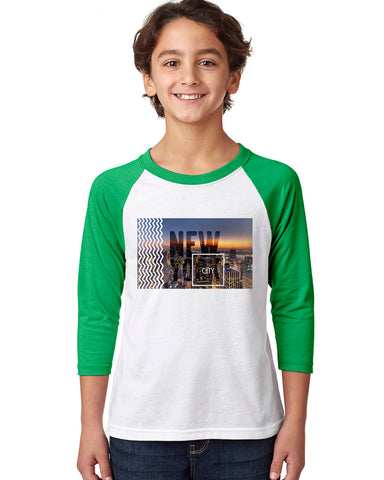 New York Twilight YOUTHS' 3/4 SLEEVED RAGLAN
