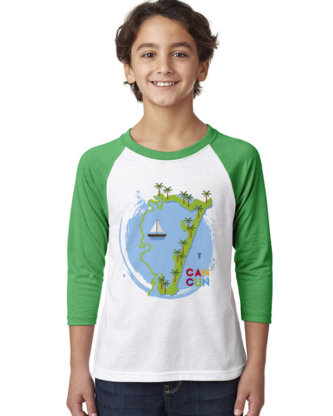 Cancun Boat YOUTHS' 3/4 SLEEVED RAGLAN