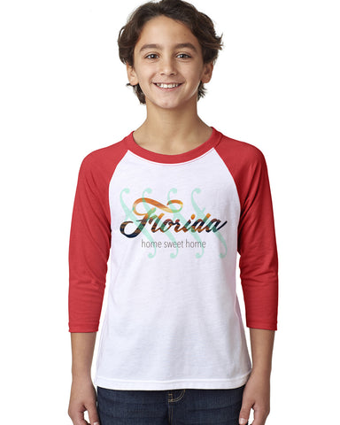 Florida Sweet Home YOUTHS' 3/4 SLEEVED RAGLAN